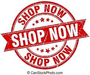 shop now round grunge ribbon stamp