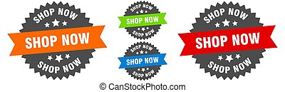 shop now sign. round ribbon label set. Seal