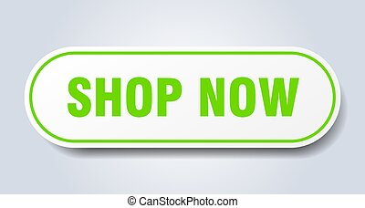 shop now sign. rounded isolated button. white sticker
