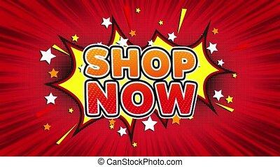 Shop Now Text Pop Art Style Comic Expression. - Shop Now...