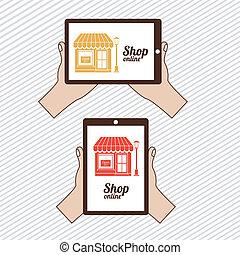 shop on line  over  lineal background. vector illustration