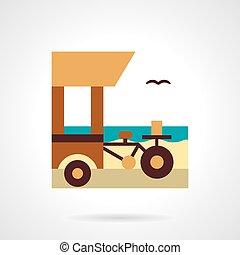Shop on wheels flat color vector icon