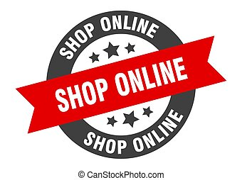 shop online sign. round ribbon sticker. isolated tag