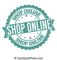 Shop online stamp - Shop online grunge rubber stamp on...
