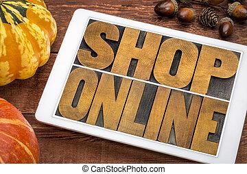 shop online word abstract in vintage letterpress wood type