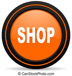 shop orange glossy web icon on white background