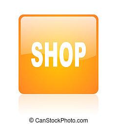 shop orange square glossy web icon