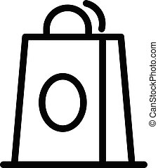 Shop paper bag icon, outline style