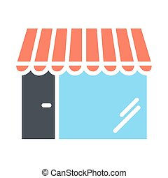 Shop Pixel Perfect Vector Silhouette Icon 48x48. Store Simple Minimal Pictogram