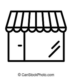 Shop Pixel Perfect Vector Thin Line Icon 48x48. Store Simple Minimal Pictogram