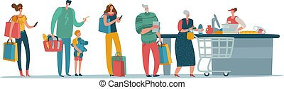 Shop queue. People customers standing in long line waiting at supermarket cash box with cashier. Shopper vector concept
