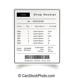 Shop Receipt template vector sticker