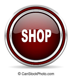 shop red glossy web icon