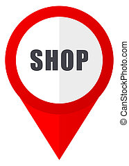 Shop red web pointer icon. Webdesign button on white background.