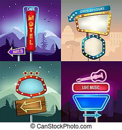 shop, sæt, motel, neon, belysning, retro, illustrationer, bannere, advertise., landskab, planke