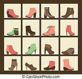 shop., scarpe, collezione, mensole
