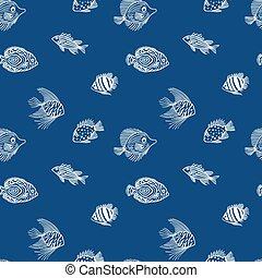 shop., seaquarium, markt, blaues, klassisch, aquariumfisch, blue., design, seamless, hintergrund., farbe, geschäfte, muster, reizend, gebrauch, plan, meer