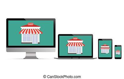 Shop Set Black Monitor Notebook Tablet Smartphone