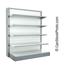 Shop shelf - Empty shop shelf. 3D render.