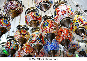 Shop stands with Turkish souvenirs - Shop stands with ...