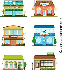 Shop store facade set. Bakery and bookstore, cafe and market