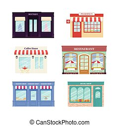 Shop, store front. Vector illustration. Storefront facades set.