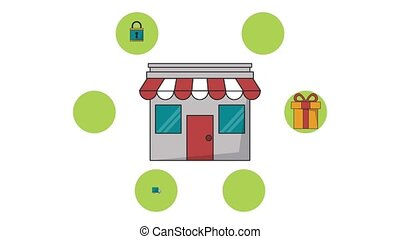 Shop store with delivery service HD animation