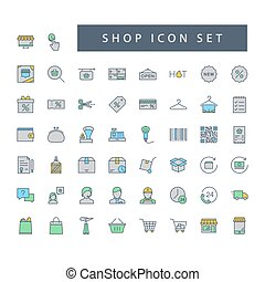Shop supermarket icon set with filled outline style design.
