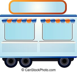 Shop trailer icon, cartoon style