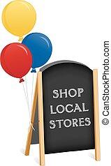 shop underskriv, kridt planke, staffeli, lokale