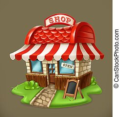 shop., vector, icono, 3d
