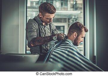 shop., visitar, peluquero, confiado, peluquero, hombre
