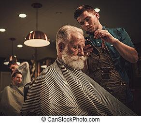 shop., visitar, peluquero, confiado, peluquero, hombre mayor