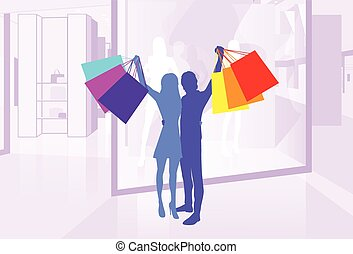 Shop Window Couple Silhouette Hold Shopping