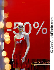 shop window with display 50 percent off