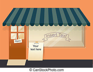 Shop with Empty Window Template - A small town shop with a...