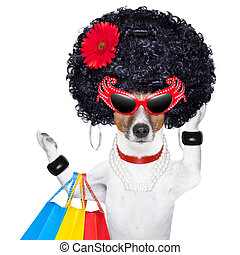 diva dog shopping like a pro , holding a bunch of bags