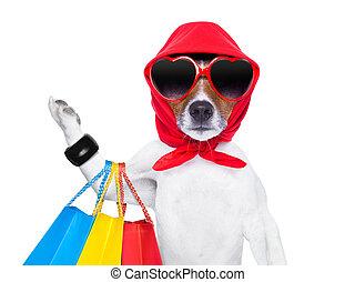 shopaholic diva dog - diva dog shopping like a pro , holding...