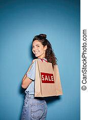 Shopaholic doing shopping on sale