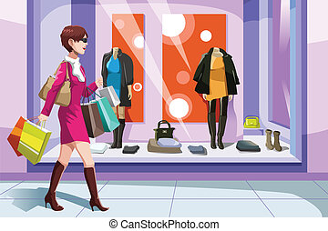 Shopaholic girl - A vector illustration of beautiful girl...