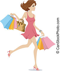 Shopaholic Girl - Illustration of a Girl Wearing a Pink...