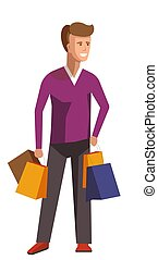 Shopaholic man vector people bad habits - Shopaholic man...