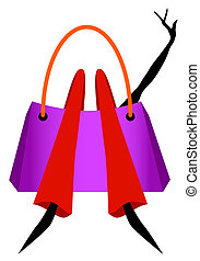 Shopaholic - Woman lying in a shopping bag, exhausted but...