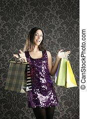 Shopaholic woman colorful bags retro dark wallpaper -...