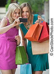 Shopaholic Women Taking Selfportrait
