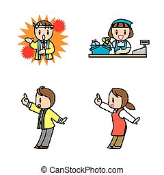shopassistant set - This illustration is various...