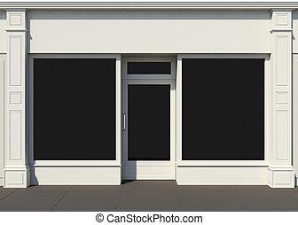 shopfront, groot, vensters