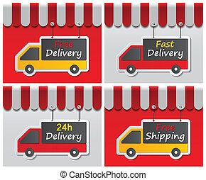 shopfront, livraison, signes