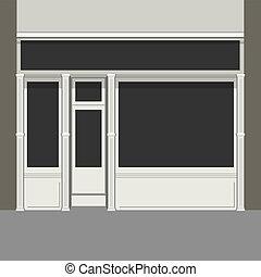 shopfront, mit, schwarz, windows., licht, kaufmannsladen,...