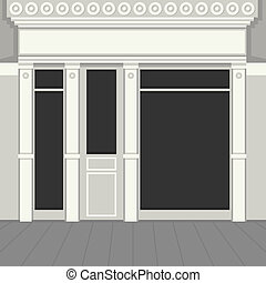 Shopfront with Black Windows. Light Store Facade. Vector Illustration.
